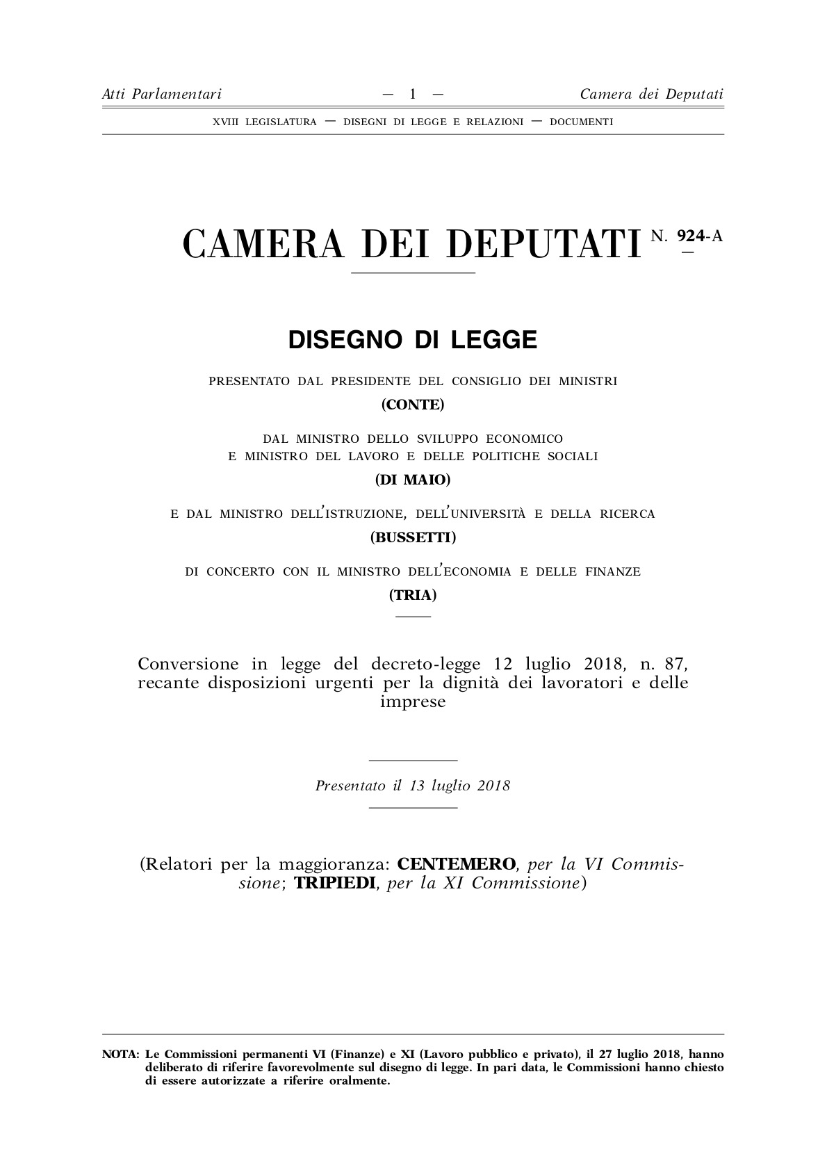 Decreto Dignità: il testo passato alla Camera